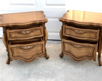 Pair of French Provincial Nightstands Shabby Chic