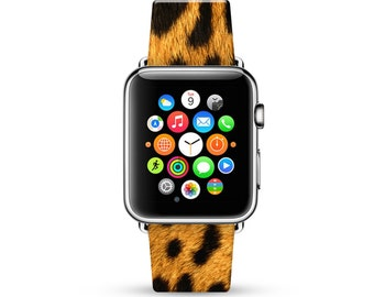 Apple Watch Band 38mm, 42mm for Series 1, 2, Series 3, Apple Watch Strap genuine Calf Leather Wrist Band with Metal Adapter, Yellow Leopard