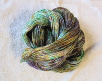 "100% Alpaca -Speckle Dyed by Hand ""Mardi Gras""  - 3 Ply Worsted Weight Yarn - 200 Yds - 9-11 WPI"