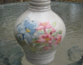 Vintage mini German Pottery jug with alpine flowers- hand painted
