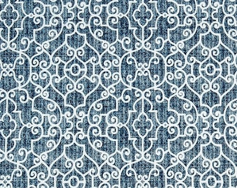 Indigo Blue Trellis Outdoor Fabric by the Yard Navy Blue Home Decor Fabric Indoor or Outdoor Curtain Fabric Cushions Upholstery Fabric C714