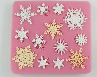 13- Snowflake Christmas Resin Mold Fondant Mold Polymer Clay Mold Flexible Silicone Mould Candle Candy Cake Fimo Resin Crafts