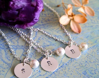 Personalized Bridesmaid Jewelry, Bridesmaid Necklace Set of Three, Initial Jewelry, Bridesmaid Gift, Bridal Party Jewelry