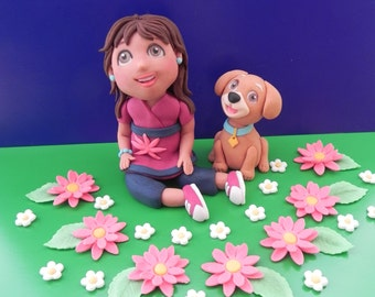 Dora edible fondant cake topper set, birthday cake, fondant figures