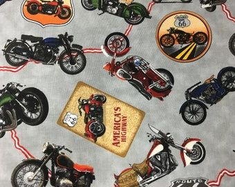 ROUTE 66 by Blank Quilting 7433 90 Grey Background with Motorcycles