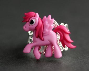 Pink Pony Ring. Pegasus Ring. Pink Horse Ring. Hot Pink Ring. Adjustable Ring. Handmade Ring. Button Ring. Silver Ring. Handmade Jewelry.