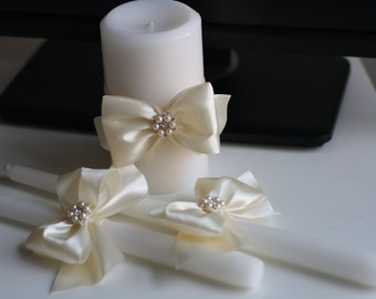 Brooch Unity Candles, Wedding Candle, Handmade Bow Unity Candle, Flower Decor Candle, Ivory Candles with Ribbon Bow and Brooch