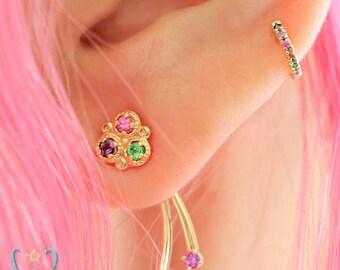 14KY Triple Gem Flower with Double Gem Fringe - Earring Jacket - Stud Earring - Flat Back Earring - Cartilage Earring