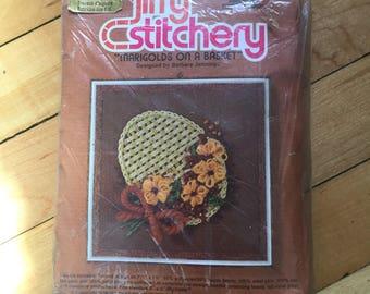 Vintage 1970s Jiffy Stitchery Marigolds Basket Floral Crewel Embroidery Craft Kit!