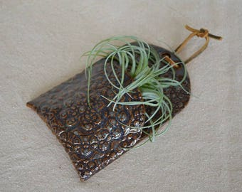 Wall hanging, wall tile, hanging tile, wall pocket, home decor, wall decor, ceramic tile, planter, air plant