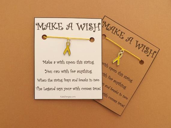 Yellow Awareness Ribbon Charity Wish Bracelet (code: BCB22)