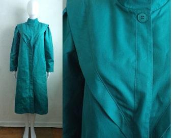 teal canvas coat size medium/large, 70s water resistant rain coat, misty harbor minimalist 1970s womens jacket