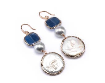 Glittering Kyanite and Pearl Earrings