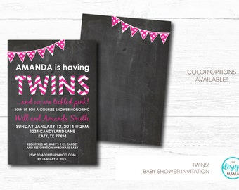 Hot Pink Chevron & Polka Dots Bunting Chalkboard Twin Girls Baby Shower Invitation