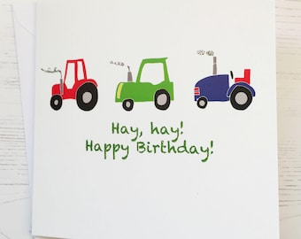 Tractor Birthday card - Tractor card - hand embellished Tractor birthday card  - Tractor - Tractor birthday - hay hay birthday