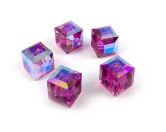 5 x Swarovski 6mm crystal cubes FUSCHIA AB