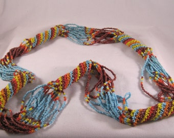 Handmade, colorful seedbead necklace