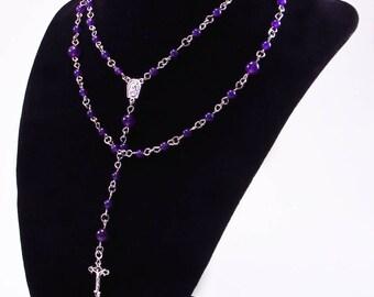 Rosary,Petite Indigo Dyed Jade, Religious, Spiritual, Stainless Steel Findings, Catholic, Cross, Prayer Beads, Crucifix, Free Shipping