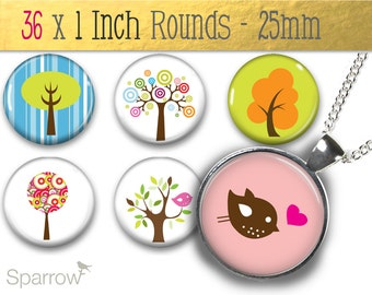 Funky Trees And Birds - (1x1) One Inch (25mm) Round Pendant Images - Buttons, Magnets, Bottle Caps - Buy 2 Get 1 Free - Instant Download