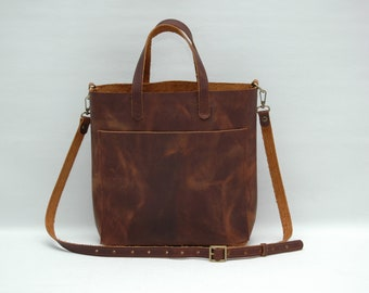Leather tote bag, medium size ,brandy disstresed  color