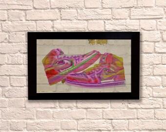 Industrial Jordan Neon Black Frame Brick Wall Graffiti Style Artwork.  Nike Air Art. Steampunk & 3D Ceramic Brick Panels and Framed. UK MADE