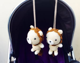 Crochet Lion Stroller toy, Lion Pram Toy, Lion Pram Toy, Twin Armigurumi Toy, Lion Crib Toy, Baby Gym Centre, Pram toy, newborn gift
