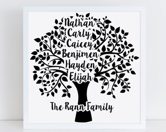 Personalised Family Tree Frame, Family Tree, Wedding Gift, Framed, Family Gift, Personalised Family Frame, Wall Art, New Home Gift