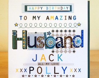 Unique wife card husband birthday card personalised husband birthday card special personalised for husband maleman birthday card hubby bookmarktalkfo Image collections