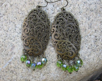 Large Statement Boho Gypsy Filigree Antique Gold Chandelier Earrings featuring Aurora Borealis Green Czech Beads