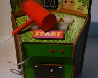 Dollhouse miniature real working whack a mole machine, 1/12 scale