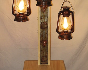 rustic floor lamp with old fashioned electrified kerosene lamps the center pole has bear and - Rustic Floor Lamps