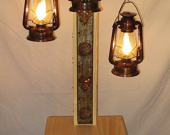Rustic Floor Lamp With Old Fashioned Electrified Kerosene Lamps. The Center  Pole Has Bear And