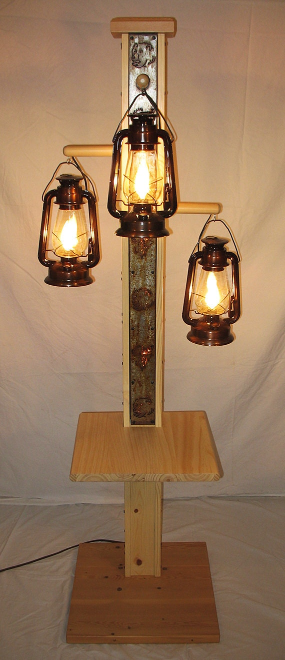 Rustic Floor Lamp With Old Fashioned Electrified Kerosene
