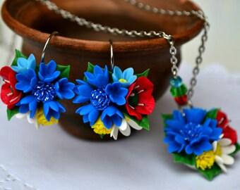 Flower floral earrings necklace pendant. Poppy daisy cornflower forget earrings necklace jewelry. Vyshyvanka.