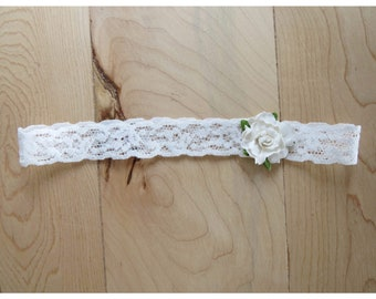 Lace and white flower headband