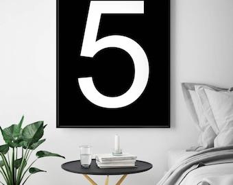 Number Printable, Number 5 Poster, 5 Number Print, Number Wall Art, Five, Printable Poster, Number Wall Decor, Minimal Art, Digital Number