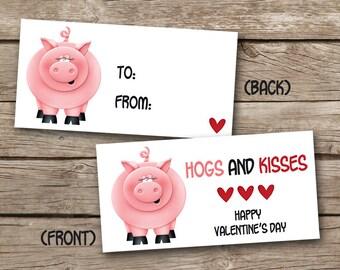 INSTANT DOWNLOAD - Valentine Treat Bag Topper - Pig - Hog - Printable Digital File - Design 9
