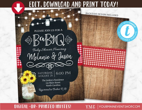 BabyQ Baby Shower Invitation, Country Baby BBQ invite, Baby Sprinkle, Sunflowers, Country, Rustic, Spring, Summer, Fall, DIY Printable