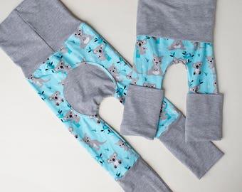 Maxaloones, Australia kangaroo koala cloth diaper pants, grow with me pants, babywearing pants, baby leggings, monsterbunz
