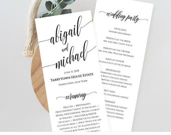 Wedding Program Template, Printable Order of Service, Ceremony Program, Instant Download, Editable Template, Digital, Templett #020-209WP