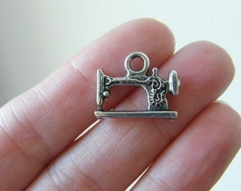 6 Sewing machine charms antique silver tone P527