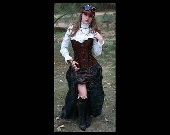 Steampunk Brown Corset w/ BROWN DAMASK Bustle Skirt Victorian Cosplay Costume Dress Goth
