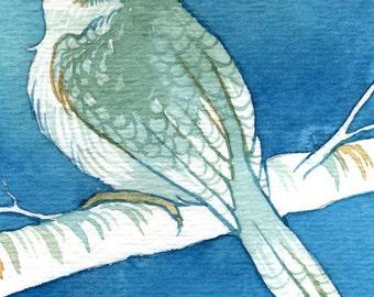 "Cute Aviary Watercolor ""A Little Bird Told Me"" ARCHIVAL ART PRINT 5x7"