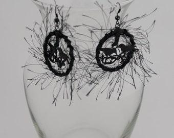 Magic black earrings with birds