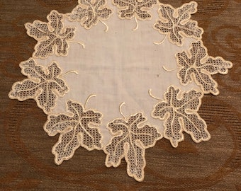 Linen Doily with Silk Embroidered Fig Leaves