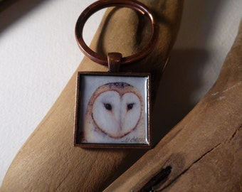 Barn Owl keyring handmade with watercolor art print