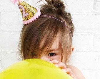 Birthday Party Hat, Girl Birthday Party Hat, First Birthday Party Hat, Girl Party Hat, 2nd Birthday Party Hat, Mini Hat