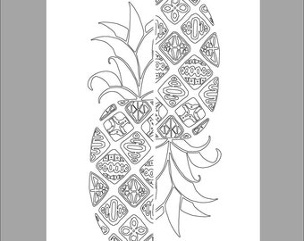 Patterned Pineapple Printable Coloring Sheet