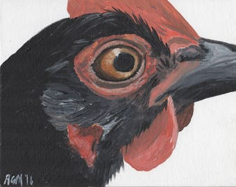 Black bantam chicken original painting