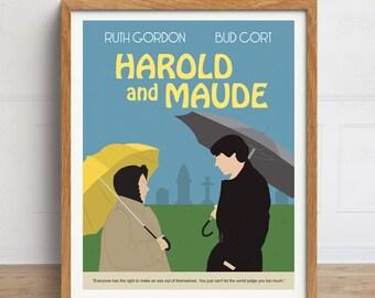Harold and Maude Poster, Movie Poster, 1970s Movie. Minimalist Movie Artwork